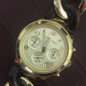 Michael Kors Gold & Tortoise Shell Link Watch